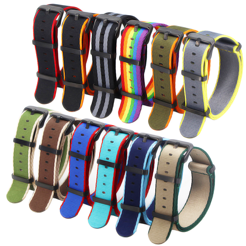 20mm 22mm Nylon Watch Strap Orange/Grey/Blue/Red Deluxe Premium NATO Style Men Sport Wrist Watch Band For Iwatch Wristband