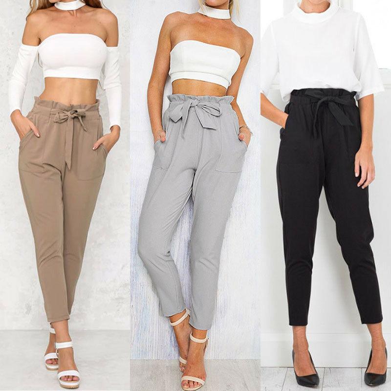 2020 Newest Hot Women High Waist Elastic Harem Pants Casual Chffion OL Lady Ankle Length Capris Trouser Women Pencil Pants