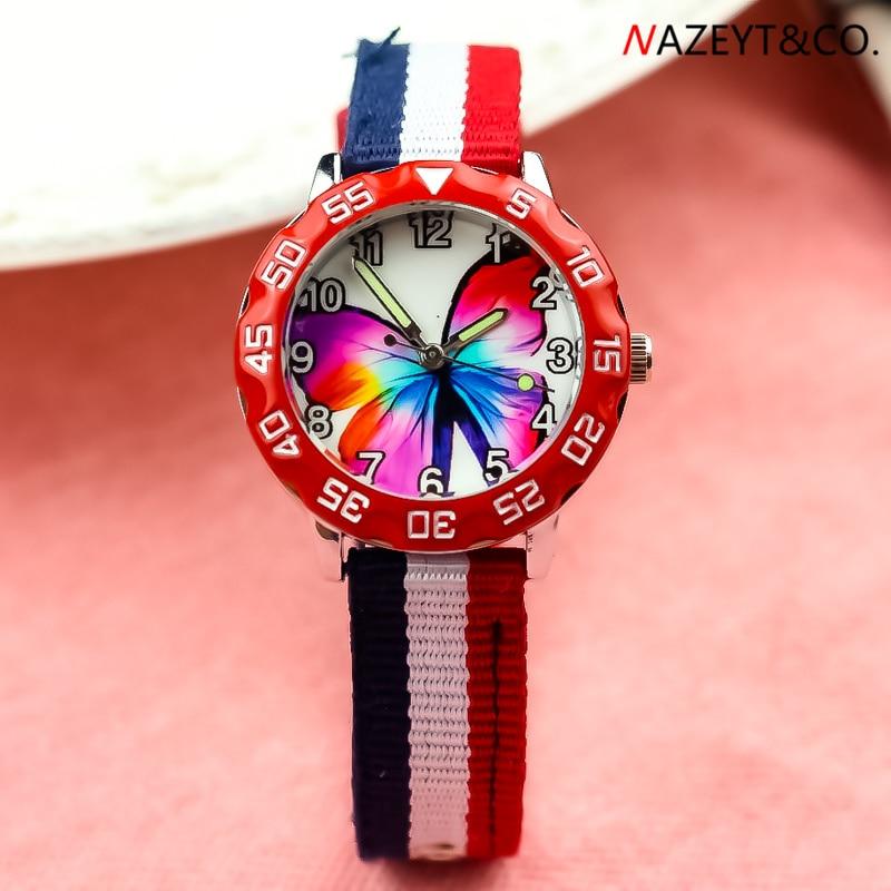 Dropshipping Children Cartoon 3D Butterfly Watch Little Boys Girls Luminous Hands Sports Quartz Wristwatch Kids Nylon Gift Clock