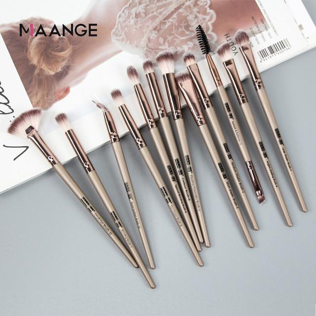 MAANGE 3/5/12Pcs Makeup Brushes Tool Set Cosmetic Powder Eye Shadow Foundation Blush Blending Beauty Make Up Brush Set Drop ship 5
