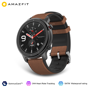 Amazfit GTR 47mm Smart Watch Global Version In Stock GPS In-Build 410mAh Battery 5ATM Waterproof Leather Silicon Strap 1