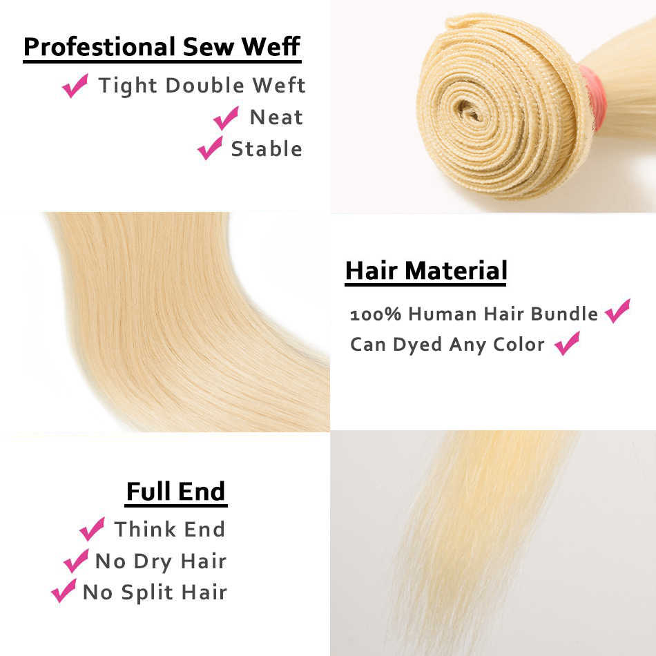 613 Bundels Met Frontale Straight Braziliaanse Hair Weave Bundels Human Hair 30 Inch Haarverlenging 3 Blonde Bundels Met Sluiting