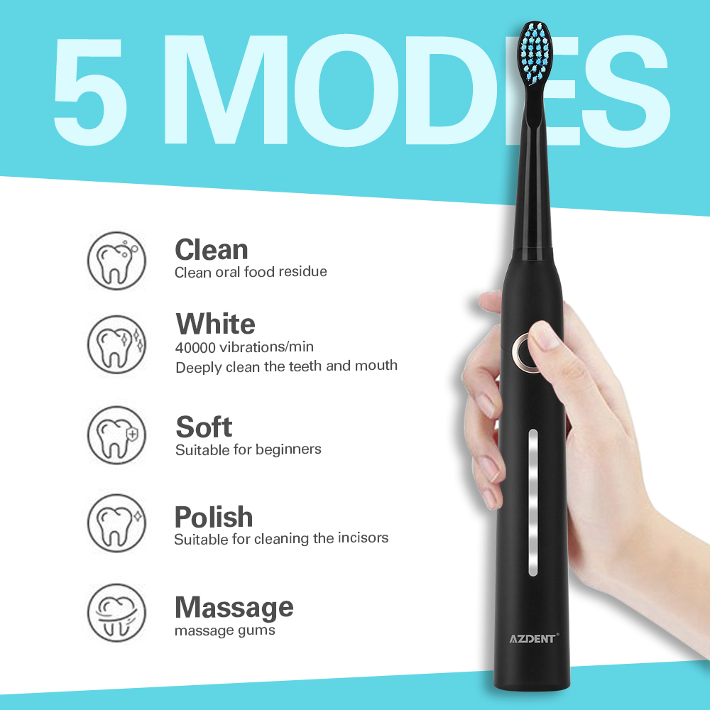 AZDENT AZ-9Pro Ultrasonic Electric Toothbrush 5 Modes USB Rechargeable Teeth Brush Deep Cleaning Teeth Whitening Brush Adult Kid