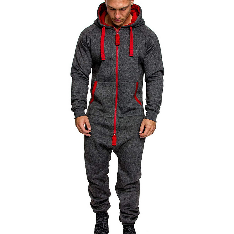 Casual Men Hoodies Jumpsuit Trouser Fleece Warm Zip Up Overalls Fashion Printed Hooded Playsuit One Piece Sport Pants Breathable