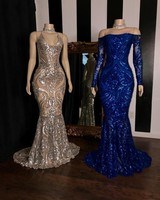 Sparkly Mermaid Royal Blue Prom Dresses 2020 African Sequined Silver Long Sleeve Formal Party Dress Plus Size Evening Gowns