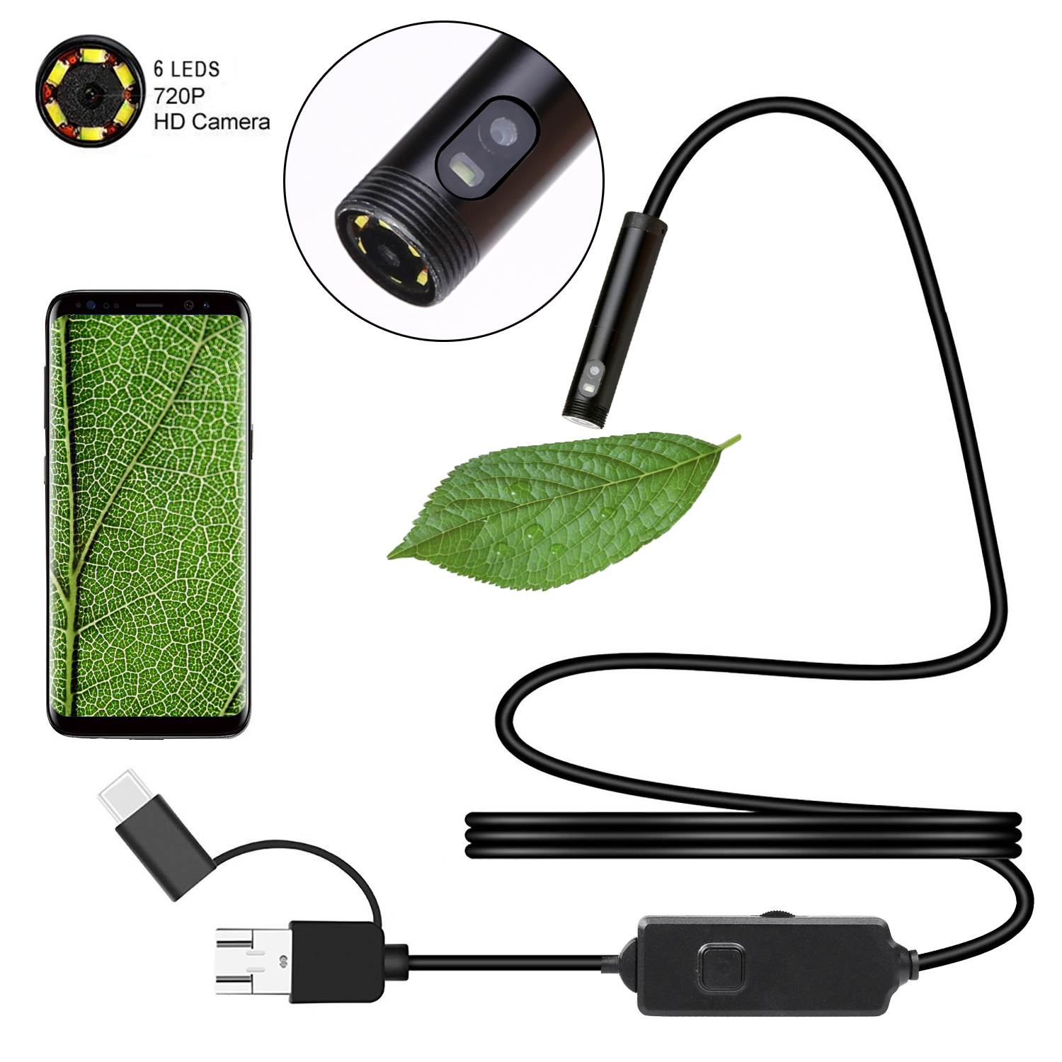 Dual Lens USB Endoscope Camera 8mm HD Borescope IP67 Waterproof Inspection Camera Screen for OTG Android Smartphone PC Notebook