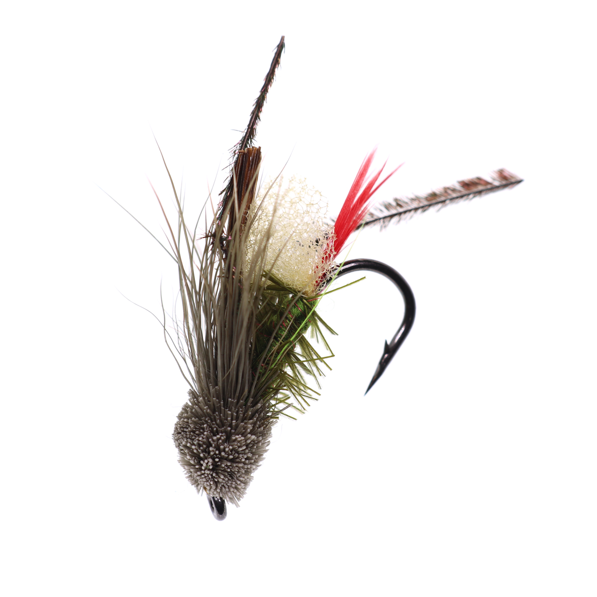 5PCS #10 Trout Fishing Fly Grass Hopper Fly terrestrial Hopper Fly Floating Bass Crappie Bug Bait Artificial Lure 21