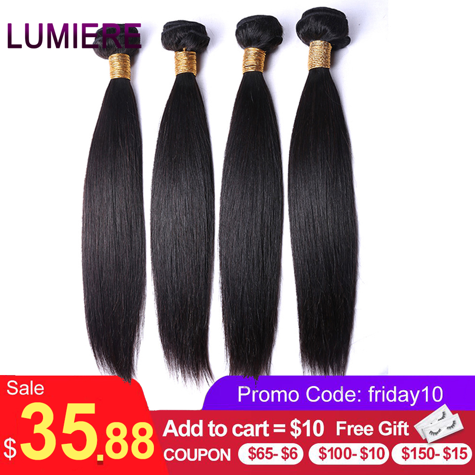 Lumiere-mèches de tissage en lot péruvien 100% naturel non-remy lisse, couleur naturelle, lots de 3/4