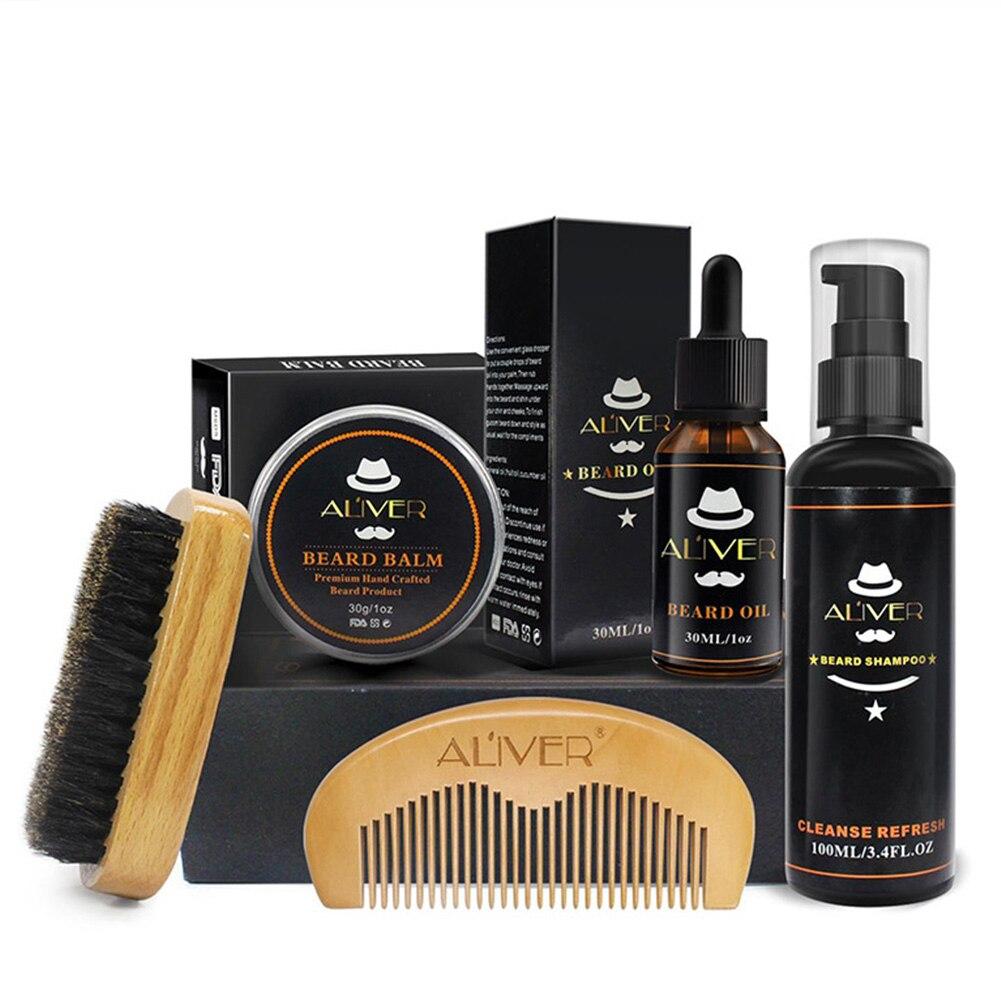 5pcs/set Beard Care Shampoo Wood Comb Mustache Gift Oil Kit Cream Men Brush Styling