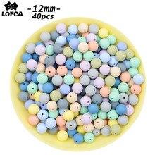 LOFCA – perles de dentition en Silicone, 12mm, forme ronde, 40 pièces/lot, pour bricolage, collier d'allaitement, perles à mâcher de qualité alimentaire