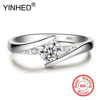 Has Silver Certificate! YINHED 100% 925 Sterling Silver Ring 0.5ct CZ Diamant Wedding Rings for Women Fine Jewelry ZR327