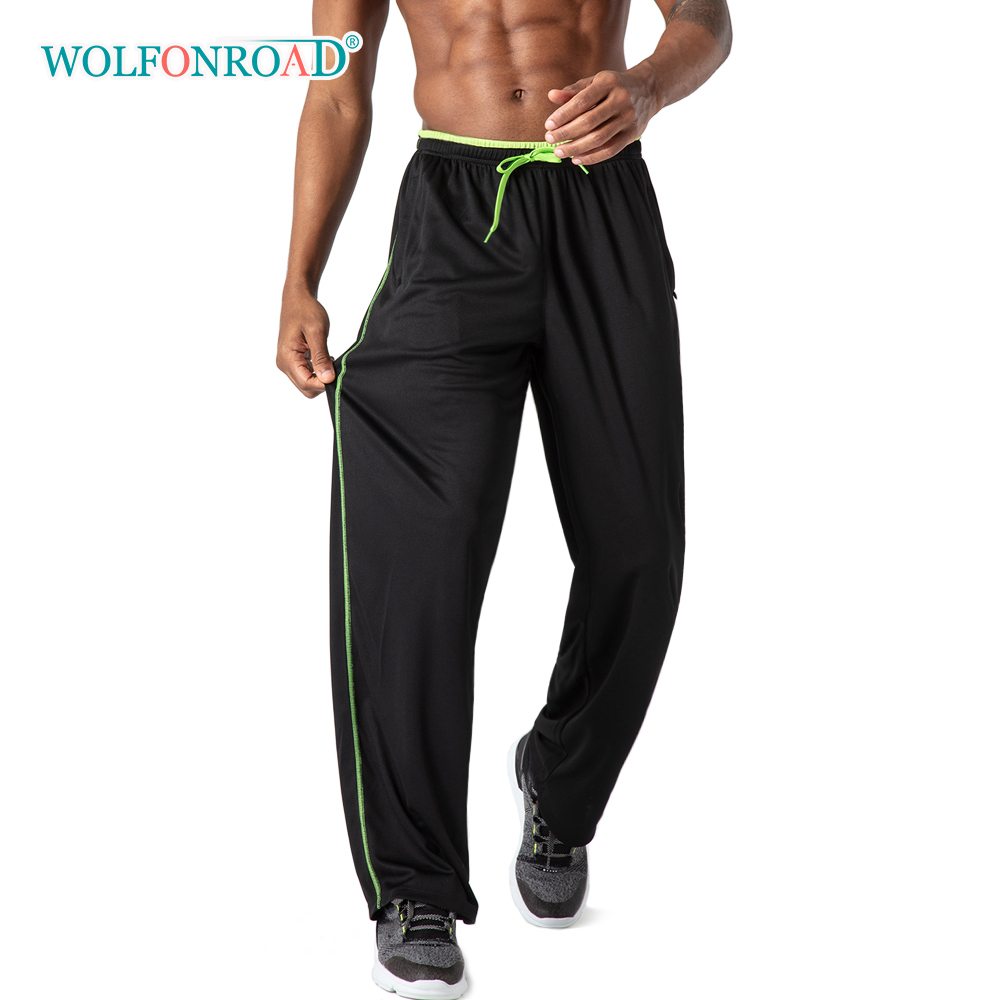 WOLFONROAD Breathable Mesh Fabric Men's Sport Pants Sweatpants Gym Fitness Yoga Running Pants Trousers Men Jogger Casual Pants