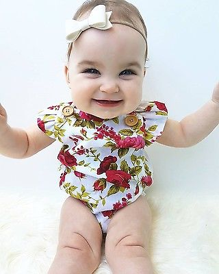 He4f1291483e54ea694563eb22971052be 2018 Cute Floral Romper 2pcs Baby Girls Clothes Jumpsuit Romper+Headband 0-24M Age Ifant Toddler Newborn Outfits Set Hot Sale