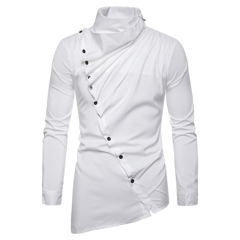 Muslim-clothing 4 Color Shirt Saudi Arabia Top Muslim Dress Man Asymmetry Oblique Placket Heap Lead Long Sleeve Shirt Dc80