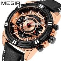 MEGIR Men's Army Sports Chronograph Quartz Watches Leather Strap Chronograph Luminous Waterproof Wristwatch Man Clock