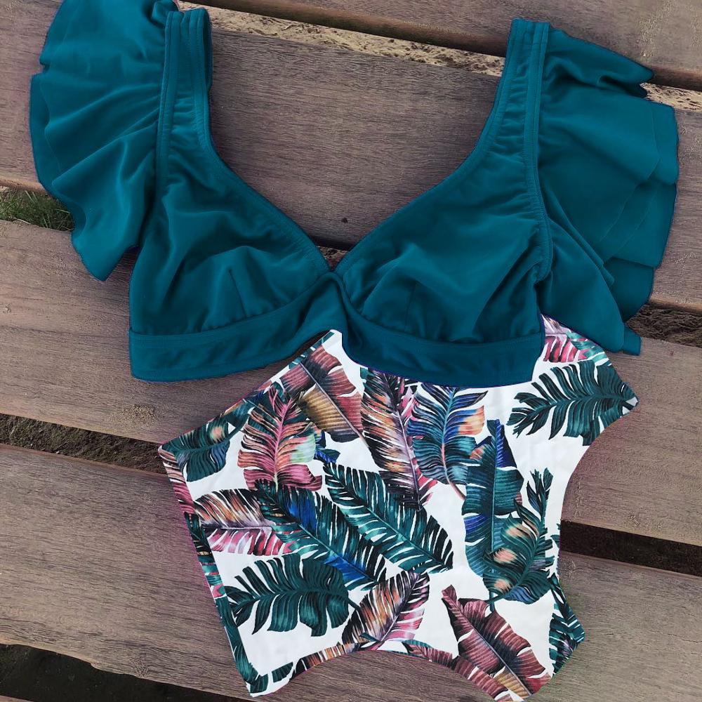 2019 New Bikini Floral Ruffled Bikini Set Women V neck High Waist Two Piece Swimsuit Girl 2019 New Bikini Floral Ruffled Bikini Set Women V-neck High Waist Two Piece Swimsuit Girl Beach Bathing Suit Swimwear Biquinis