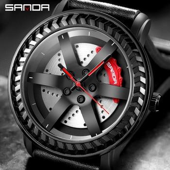 ホット販売男性車のホイールダイヤル時計クリエイティブ 3D デザイン腕時計革軍事防水男クォーツ時計レロジオ masculino