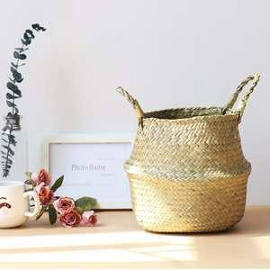 Storage-Basket Gardening-Decoration Plant Rattan Wind-Straw Folding Pastoral Portable