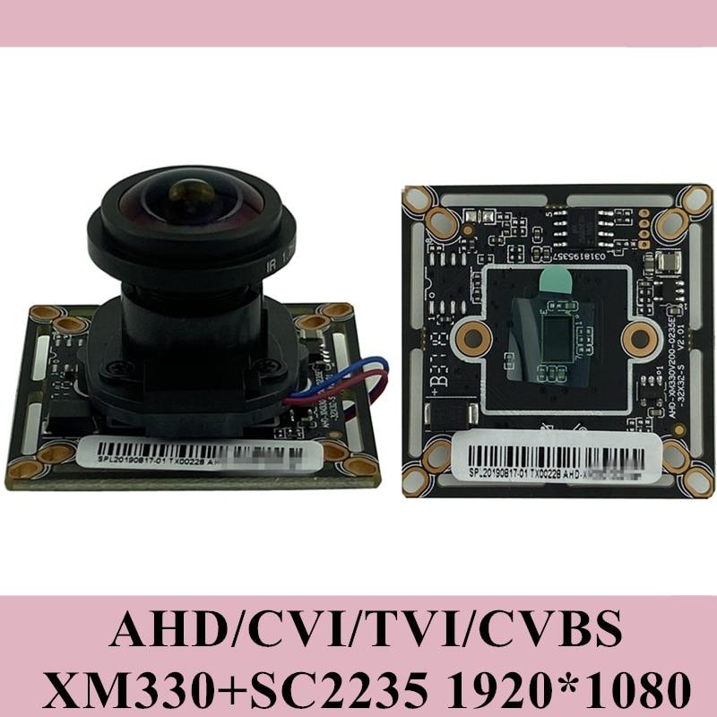 1920*1080 2mp ahd câmera placa do módulo panorama fisheye 2.8-12mm xm330 + f37 38*38mm utc bnc dc 12v cctv segurança