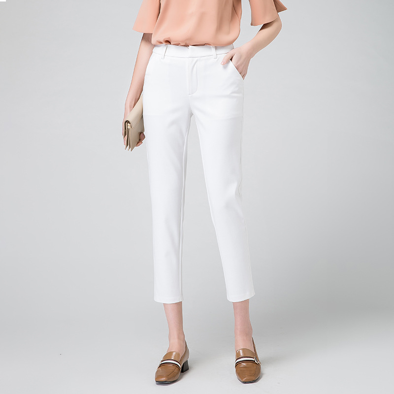 2020 Summer Women Pants High Waist Loose Formal Elegant Office Lady Ankle-Length With Belt Pants