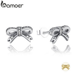 BAMOER Delicate 100% 925 Sterling Silver Sparkling Bow Stud Earrings With Clear CZ Women Party Luxury Jewelry PAS407