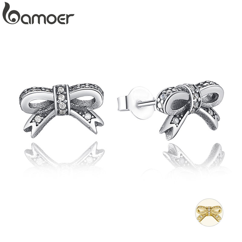 BAMOER Delicate 100% 925 Sterling Silver Sparkling Bow Stud Earrings With Clear CZ Women Party Luxury Jewelry PAS407(China)