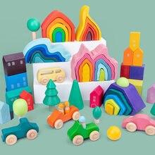 Bebé juguetes bloques de madera Arco Iris apilador juguetes para los niños Arco Iris creativo bloques de construcción de juguetes educativos para niños regalos