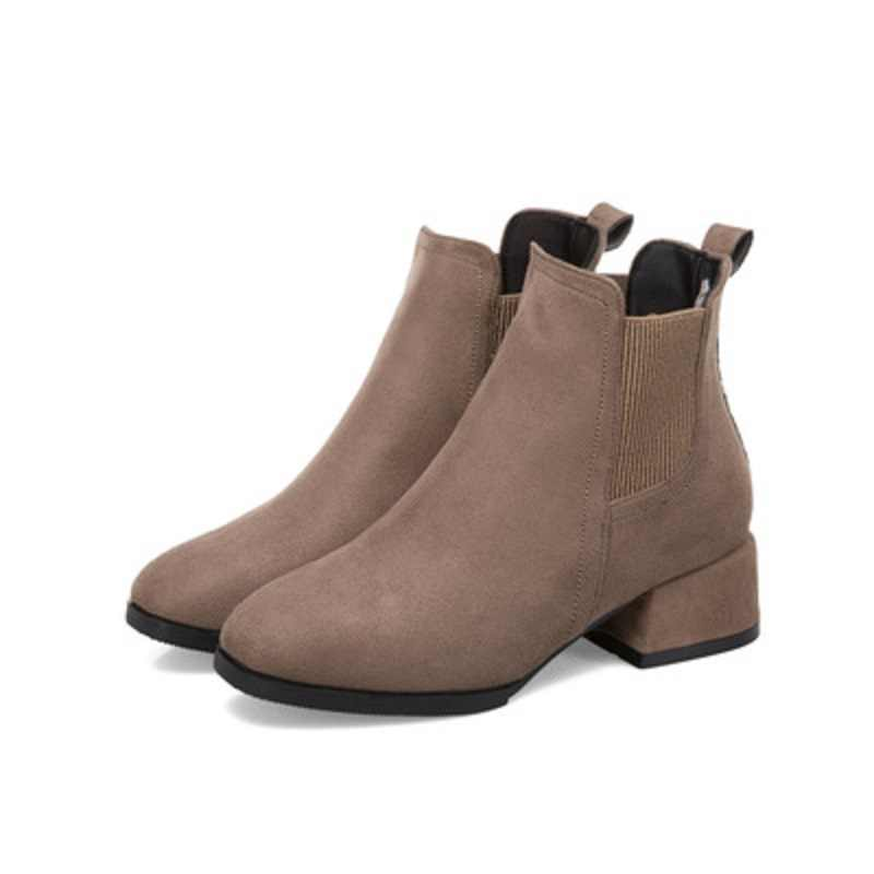 Botas de otoño invierno MoneRffi botines de mujer de color negro Camel con tacón grueso deslizantes en zapatos de mujer botas femenina 36-41