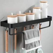 Черная Алюминиевая кухонная полка, полка для ванной комнаты, одноярусная полка для шампуня, полка для балкона