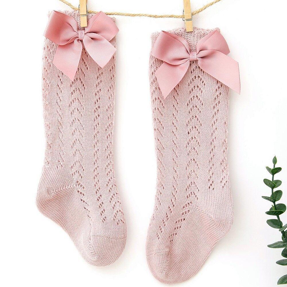Cute Girls Knee High Socks Bows Cotton Breathable Soft Children Socks Hollow Out Non-slip Newborn Infant Long Socks 0-3Years 6