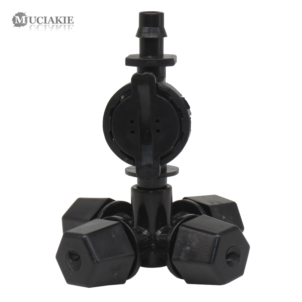 MUCIAKIE 10 SETS 6MM Black Cross Fogger Spray 1/4'' Barb Anti-Drip Device Garden Misting Irrigation Watering Greenhouse Cooling