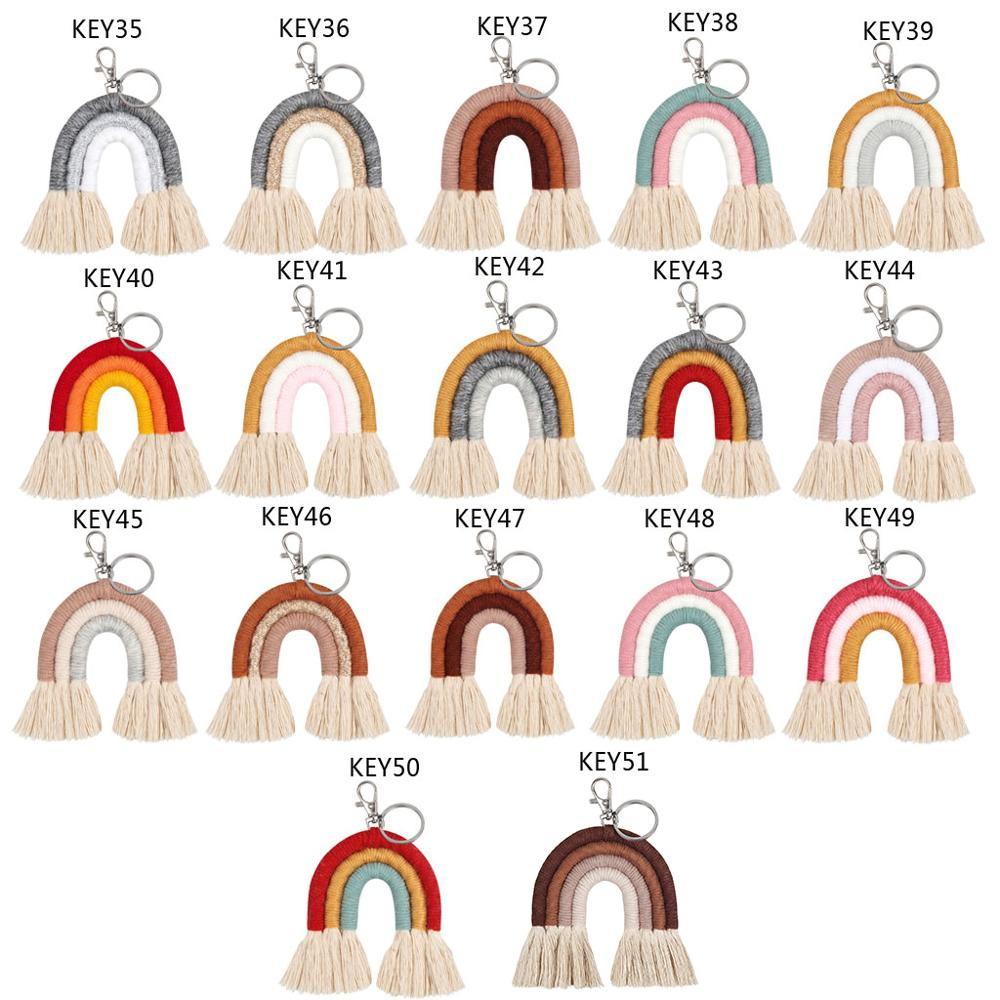 Weaving Rainbow Keychains For Women Boho Handmade Key Holder Keyring Macrame Bag Charm Car Hanging Jewelry Gifts