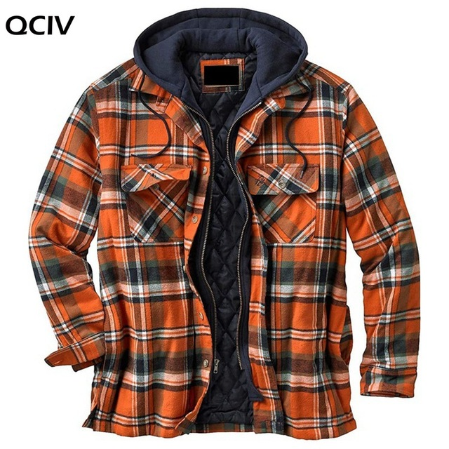 Explosive Men's Clothing European American Autumn and Winter Models Thick Cotton Plaid Long-sleeved Loose Hooded Jacket 3