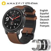 """AMAZFIT GTR 47mm akıllı saat uluslararası sürüm 5ATM 1.39 """"AMOLED GPS + GLONASS Smartwatch erkekler 24 gün pil"""
