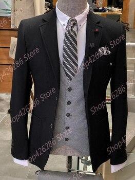 Men's Slim Fit Suit Real Picture 2 Piece Jacket Vest Sets Formal Wedding Suits Grooms Blazer Party Tuxedo Traje Ceremonia Hombre