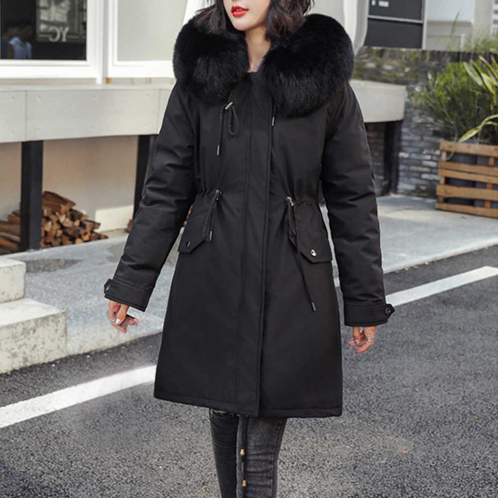 WENYUJH Baumwolle Liner Warme Mantel Wasserdichte Jacke Frauen Plus Größe Nehmen Langen Mantel Weibliche Winter Große Pelz Mit Kapuze Parka Mujer mäntel