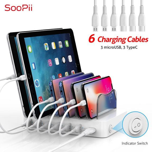 """מותג מוביל בשוק בארה""""ב Soopii 50W/10A 6 יציאת USB תחנת טעינה עבור מספר מכשירים, 6 מעורב כבל כלול, הטוב ביותר מתנות"""