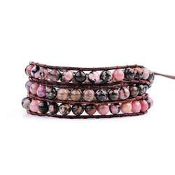 YGLINE 3X кожа обёрточная бумага натуральный камень браслеты браслет из бисера модные женские туфли Цыганский браслет Прямая доставка