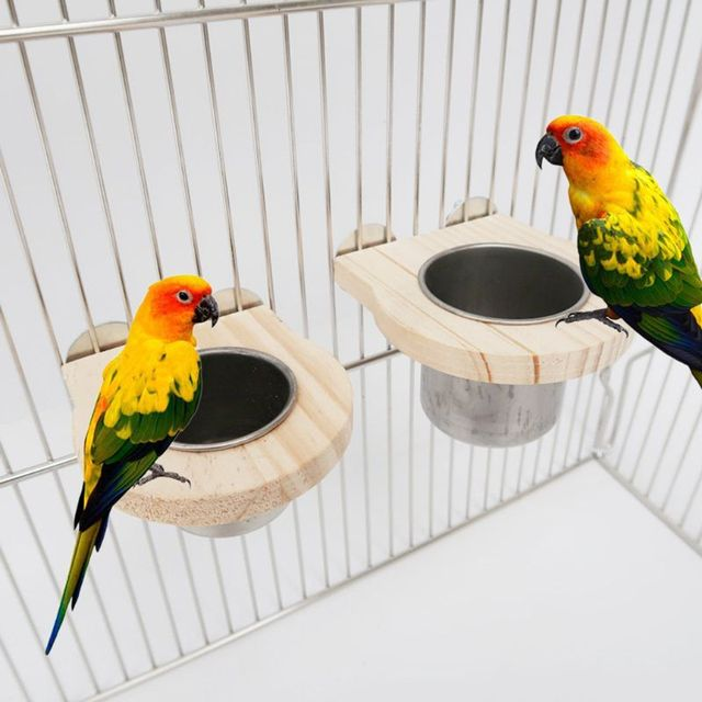 Bird Feeding Cups with Clamp Parrot Cage Hanging Bowl Stainless Steel Coop Dish 1
