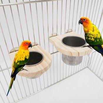 Kubki do karmienia ptaków z zaciskiem klatka dla papugi wiszące miski ze stali nierdzewnej tanie i dobre opinie OOTDTY CN (pochodzenie) Wood Stainless Steel Ptaki Automatyczne