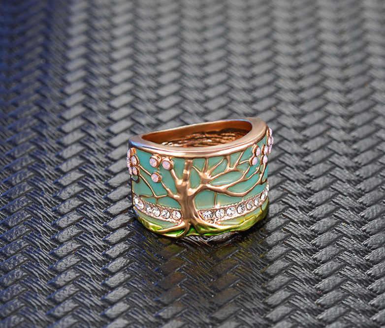 Chaud chanceux fleur arbre anneaux mode or rose opale vert émail large anneau pour femme fête cristal Vintage bijoux 2019 nouveau
