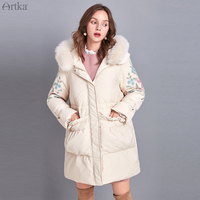 ARTKA 2019 Winter New Women Flower Embroidery 90% White Duck Down Coat Fox Fur Collar Hooded Thick Warm Long Down Coats ZK10790D
