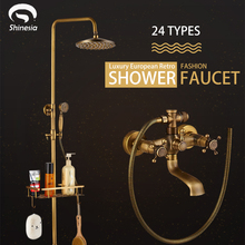 Faucet Hangers Shower-Set Commodity-Shelf Wall-Mounted Rainfall-Head Brass Bathroom Antique