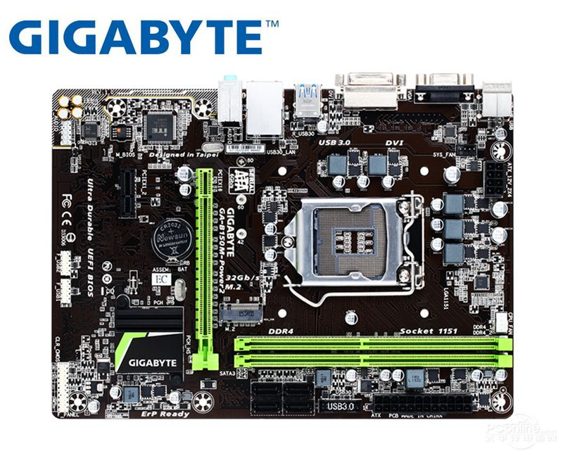 desktop Motherboard for Gigabyte B150M-Power 2 LGA 1151 DDR4 64GB USB2.0 USB3.0 B150 used mainboard