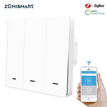 Zemimart Zigbee 3.0 ue commutateurs poussoirs un Gang interrupteur d'éclairage mural Compatible avec SmartThing Hub APP téléphone
