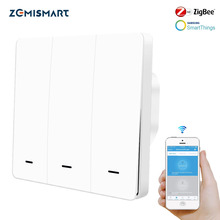 Zemismart Interruptor de pared Zigbee 3,0, pulsador europeo, una banda, Compatible con Smart thing Hub APP Phone
