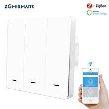 Zemismart Zigbee 3.0 EU Push Schakelaars Een Gang Muur Light Switch Compatibel met SmartThing Hub APP Telefoon