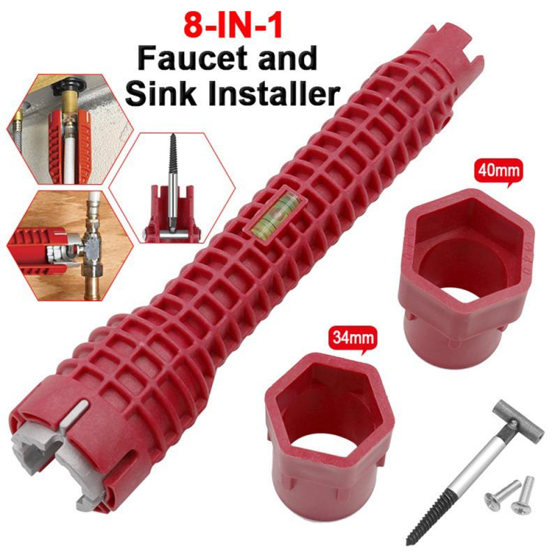 2019 NEW Wrench 8 In 1 Faucet And Sink Installer Double Head Water Pipe Spanner Multi-purpose Wrench Plumbing Toilet Bath Tool