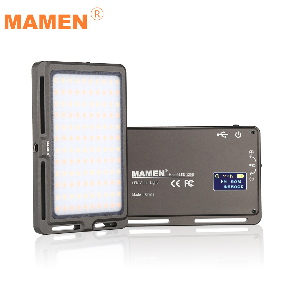 MAMEN Ultra Thin Dimmable LED Video Light 120 Pcs CRI96 OLED Display with Battery On Camera DSLR Photography Lighting Fill Light title=