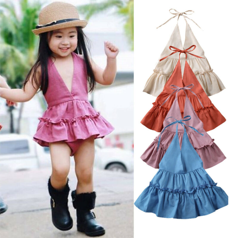 Pudcoco US Stock 0-24M Newborn Baby Girl Tutu Dress Cotton Linen Clothes Set Summer